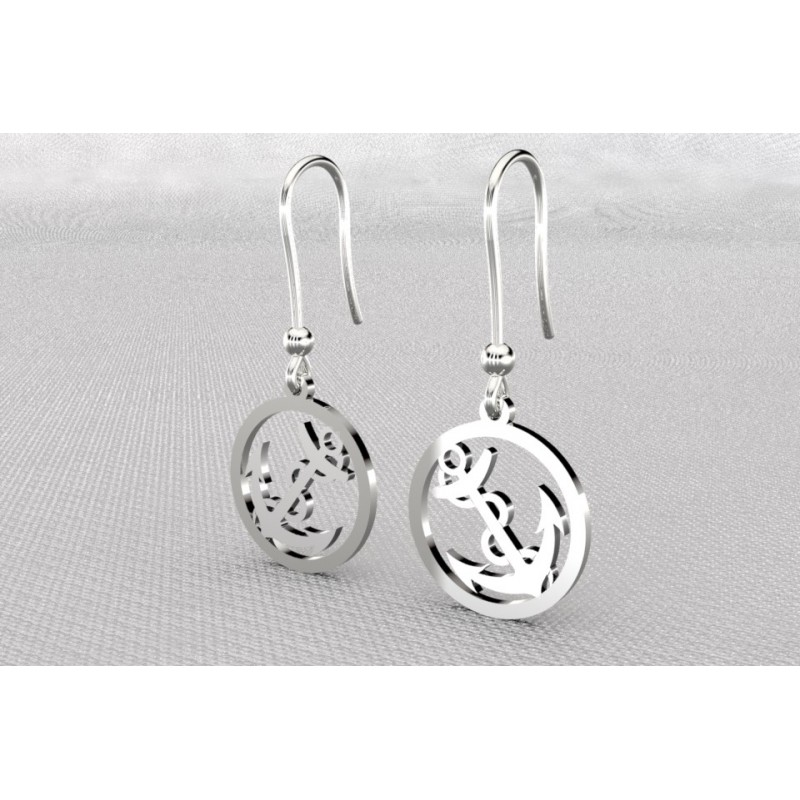 Boucles d'oreilles créateur originales pendantes pour femme argent, ancre marine