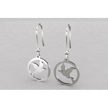 Boucles d'oreilles créateur originales pendantes pour femme argent, mouette cayouckette
