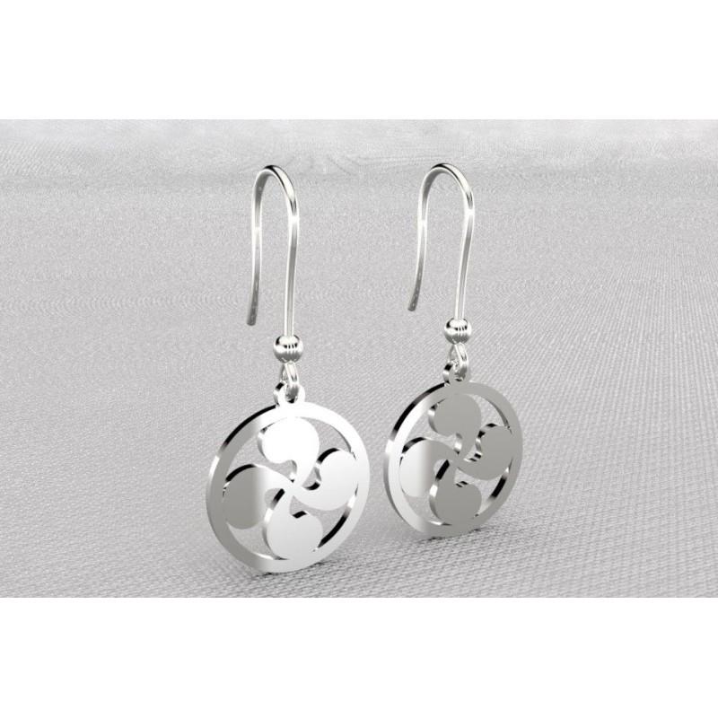Boucles d'oreilles créateur originales pendantes pour femme argent - croix basque