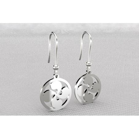 Boucles d'oreilles créateur originales pendantes pour femme argent, croix basque