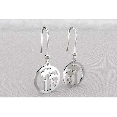 Boucles d'oreilles créateur pour femme en argent, Pin Parasol