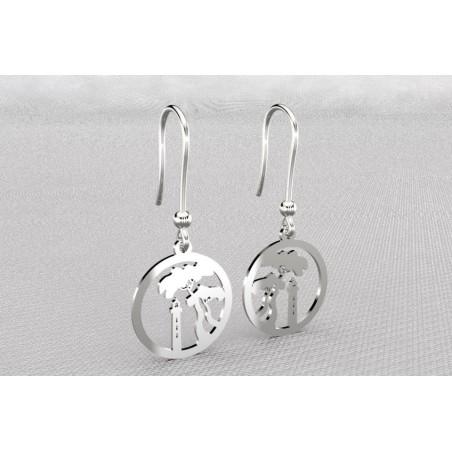 Boucles d'oreilles créateur originales pendantes pour femme argent, Pin Parasol