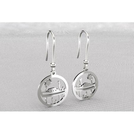 Boucles d'oreilles créateur originales pendantes pour femme argent, Pinasse