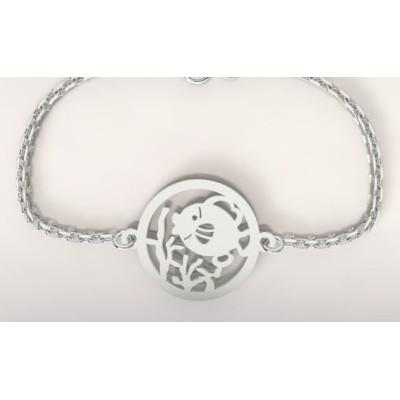 Bracelet créateur original femme et homme poisson corail argent