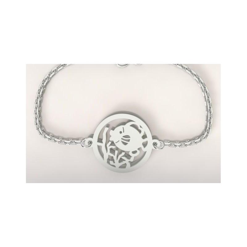 Bracelet créateur pour femme et homme poisson corail en argent