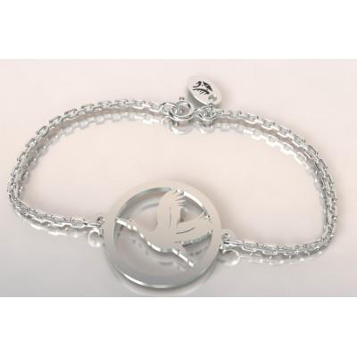 Bracelet de créateur en argent pour femme - Cigogne en vol - Lyn&Or Bijoux