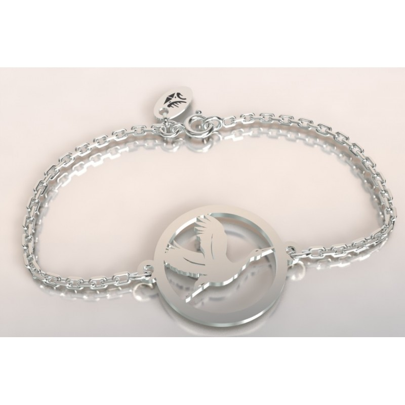 Bracelet créateur original mixte Cigogne vol argent