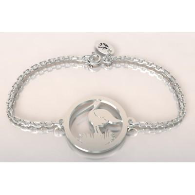 Bracelet créateur original Cigogne dans son nid en argent
