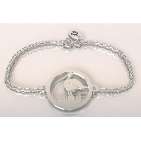 Bracelet créateur original mixte Cigogne dans son nid argent
