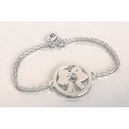 Bracelet créateur original mixte Coiffe alsacienne argent