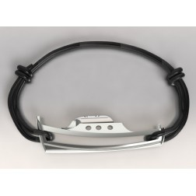 Bracelet de créateur en argent et cordon, unisexe - Bateau Pinasse