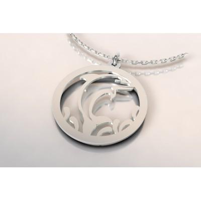 Collier créateur tendance pour femme argent, topaze blanc, dauphin