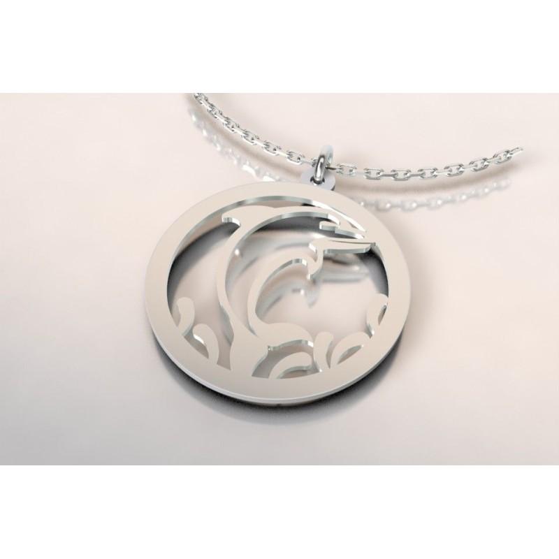 Collier créateur pour femme en argent, topaze blanc, dauphin