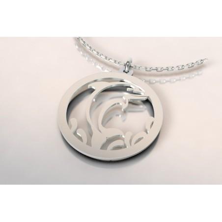 Collier créateur tendance pour femme argent - topaze blanc - dauphin
