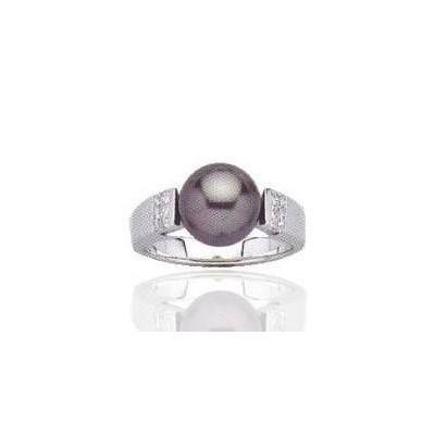 Bague perle grise et argent - Sensations Taille 50
