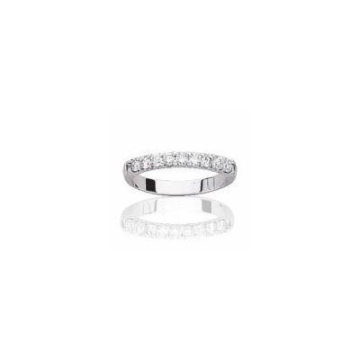 Alliance or blanc 18 carats et diamants pour femme - Anneau de mariage