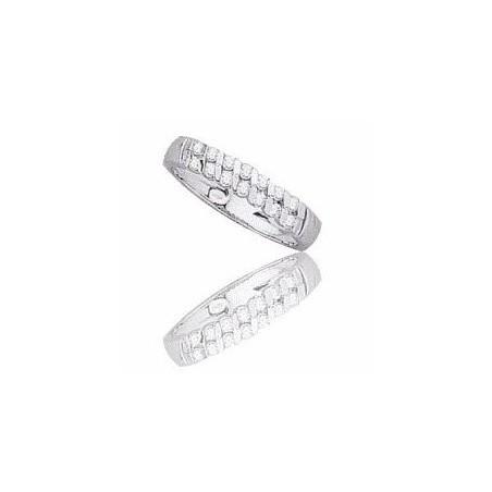 Alliance pour femme or blanc 18 carats et diamants -Diane