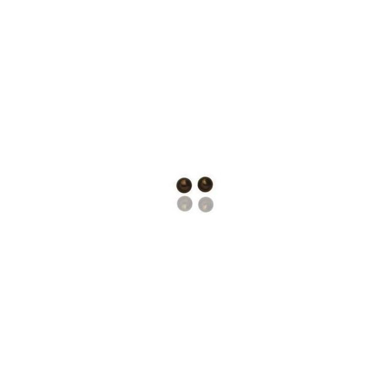 Boucles d'oreilles femme, plaqué or et perles marrons - Chocolat - Lyn&Or Bijoux