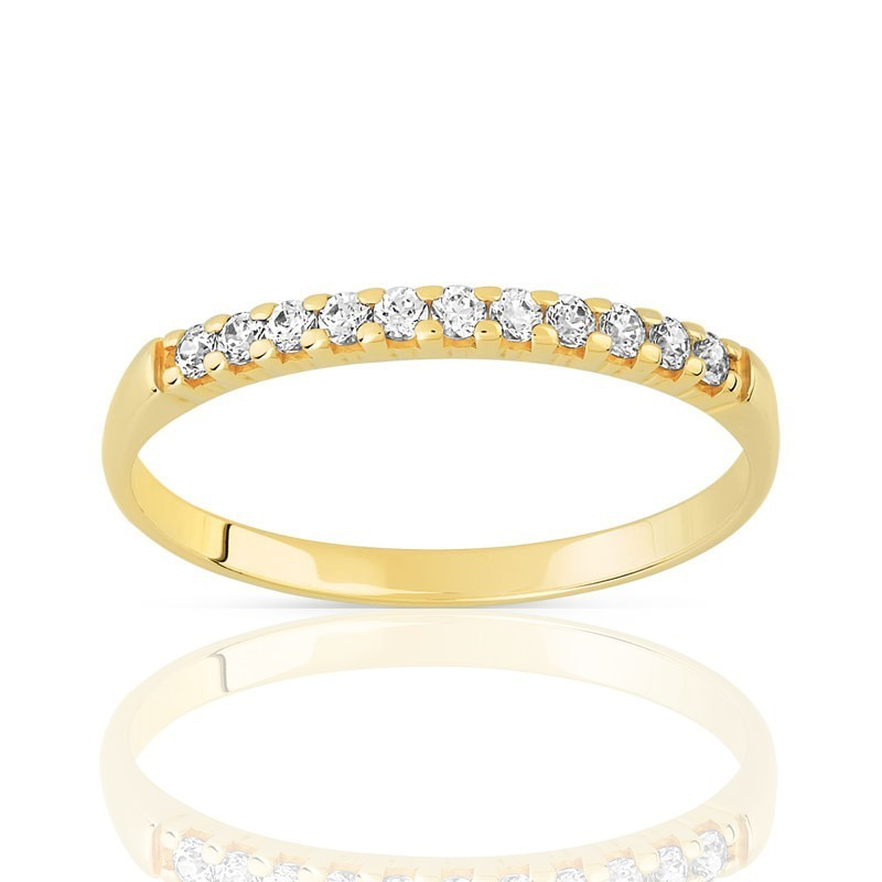 Alliance femme en or jaune 18 carats et 9 diamants - Bali - Lyn&Or Bijoux