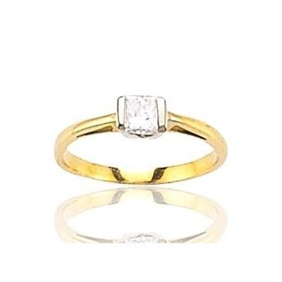 Bague avec Diamant Princesse pour femme en or 18 carats - Marissa - Lyn&Or Bijoux