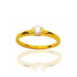 Bague en or jaune et diamant solitaire - Colombine