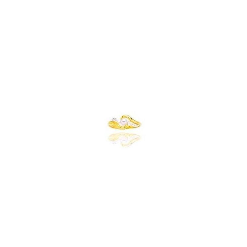Bague pour femme, Perle blanche & plaqué or 2 tons, T60 - Ecume - Lyn&Or Bijoux