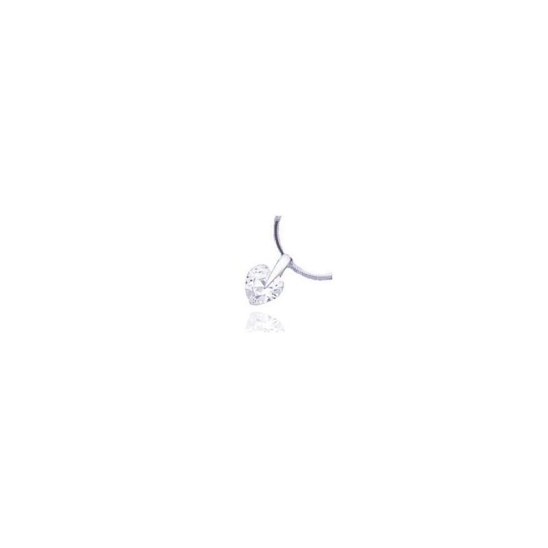 pendentif femme argent pas cher, zircon en forme de coeur - Bijoux Femme