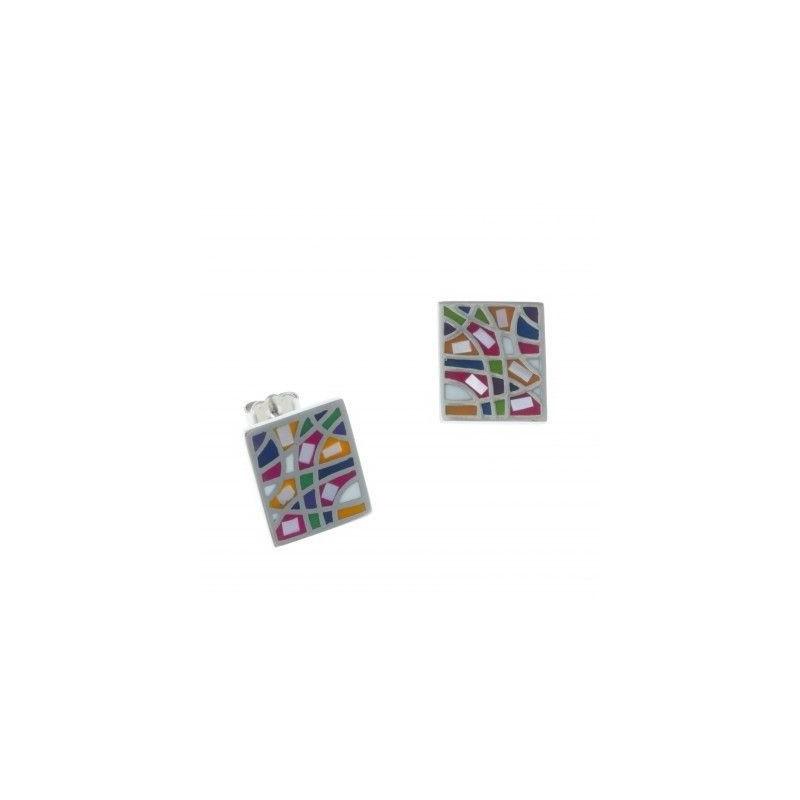 Boucles d'oreille femme en acier & émail multicolore - Camino - Lyn&Or Bijoux