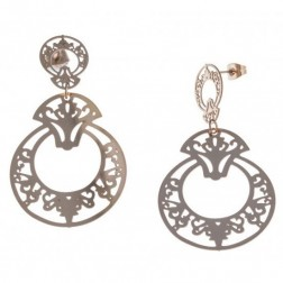 Boucles d'oreille pendantes pour femme en acier rose - Prima - Lyn&Or Bijoux
