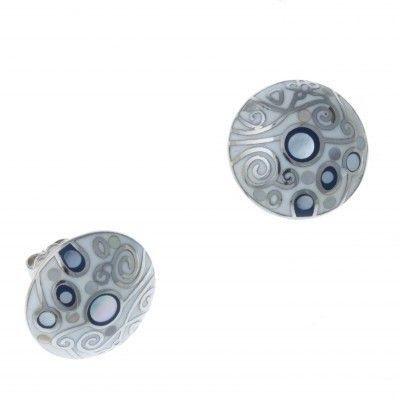 Boucles d'oreilles émail, nacre, acier - Vertige - Lyn&Or Bijoux