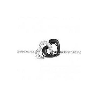 Bracelet coeur pour femme en argent, céramique noire, zircon