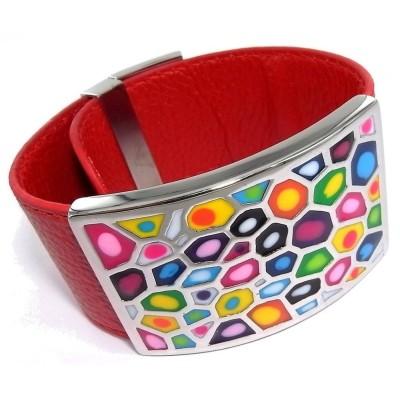 Bracelet Odena cuir rouge, acier, émail Coloré - Shelly