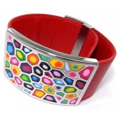 Bracelet manchette femme, cuir rouge 3cm & acier multicolore - Odena - Lyn&Or Bijoux