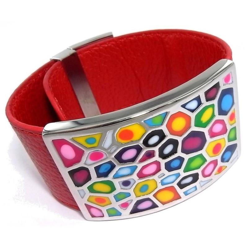 Bracelet Gamy's cuir rouge, acier et émail Coloré, Shelly