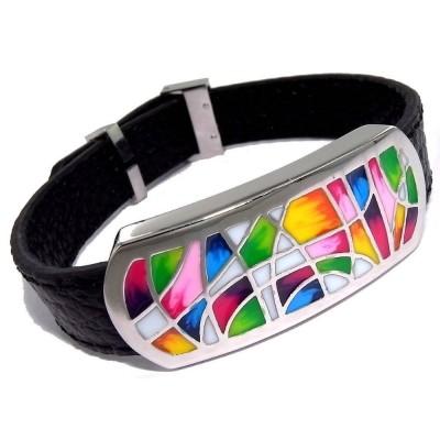 Bracelet Gamy's en cuir noir, acier et émail Coloré - Melly