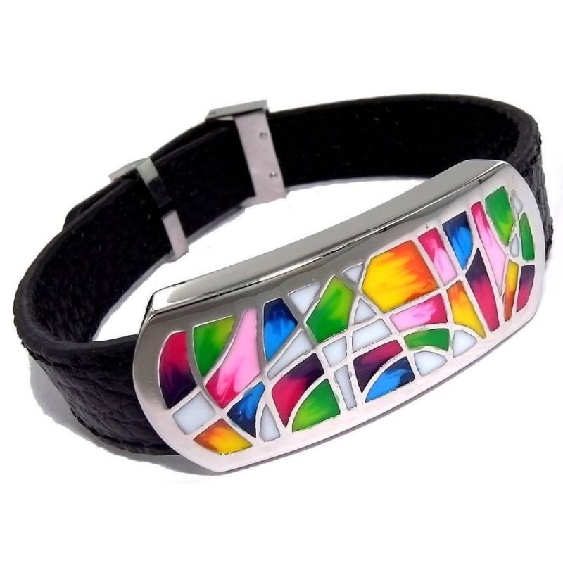 Bracelet Gamy's cuir noir, acier et émail Coloré, Melly