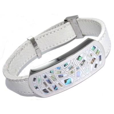 Bracelet Gamy's cuir blanc - acier et émail Coloré - Melly