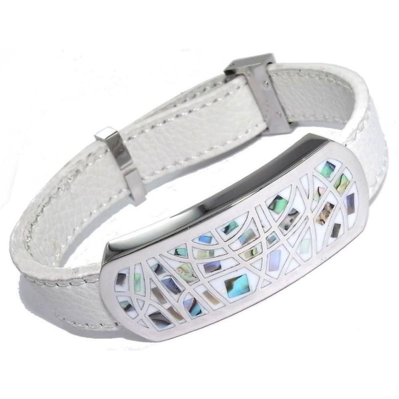 Bracelet Gamy's cuir blanc, acier et émail Coloré, Melly