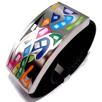 Bracelet Odena cuir noir, acier, émail Coloré pour femme - Lyn&Or Bijoux