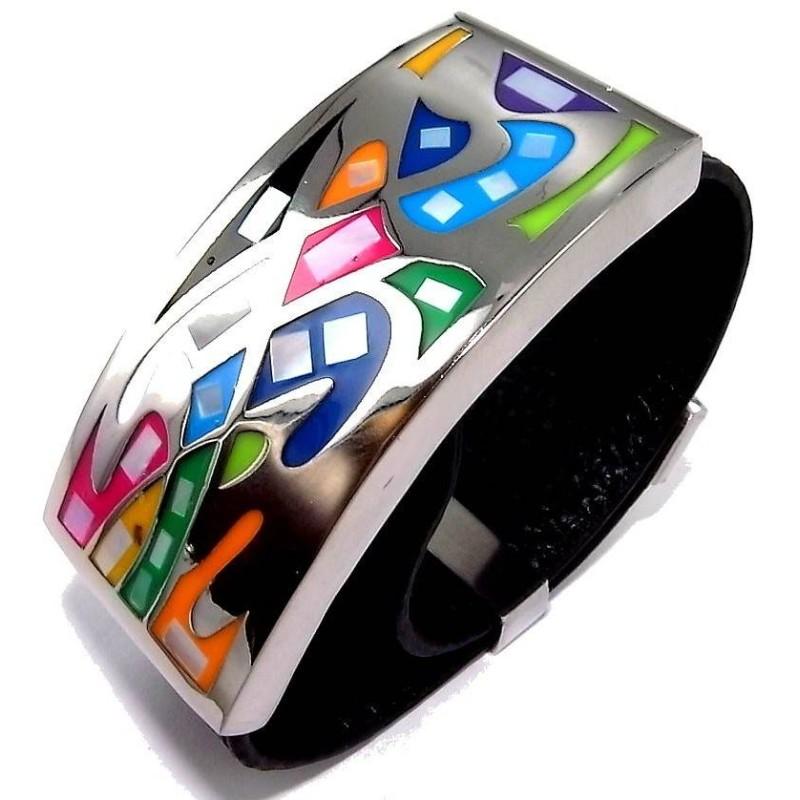 Bracelet Gamy's cuir noir, acier et émail Coloré, Kelly