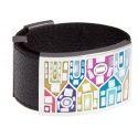 Bracelet Gamy's cuir noir, acier et émail Coloré, Shelly