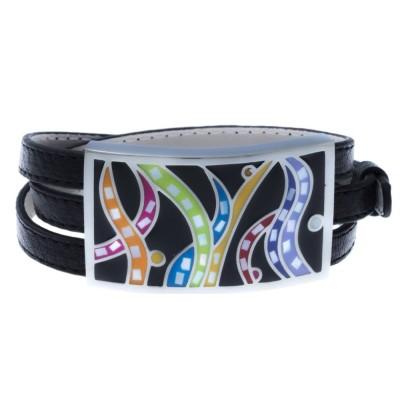 bracelet modulable en cuir noir, acier et émail coloré