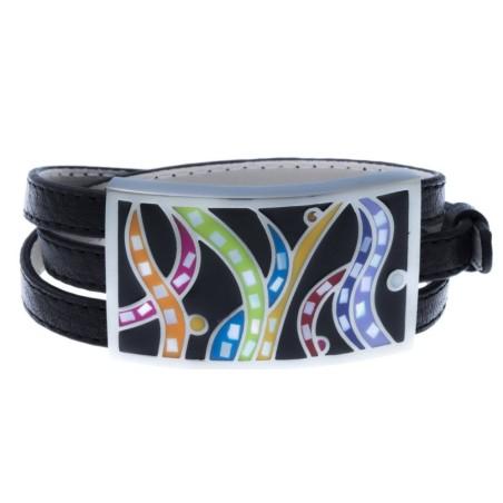 Bracelet Gamy's cuir noir, acier et émail Coloré, Gamy's