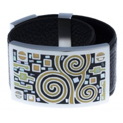 Bracelet Gamy's cuir noir, acier et émail orange, Shelly