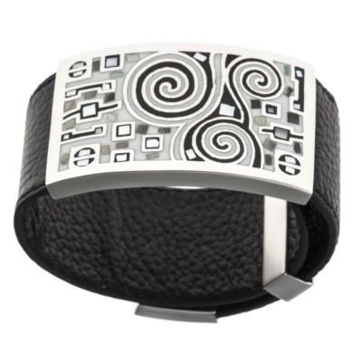 Bracelet Gamy's cuir noir, acier et émail gris, Shelly