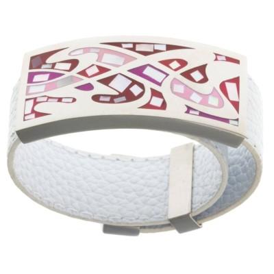 Bracelet Gamy's cuir blanc, acier et émail Coloré, Kelly