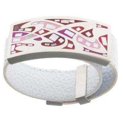Bracelet femme, Cuir blanc, mosaïque rouge - Odena - Lyn&Or Bijoux