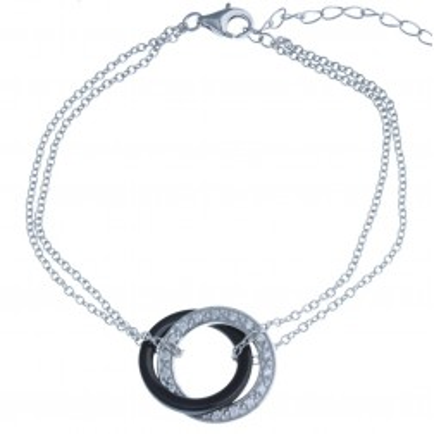 Bracelet céramique noire et argent - Galicia