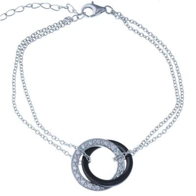 Bracelet céramique noire et en argent 925 pour femme, Galicia