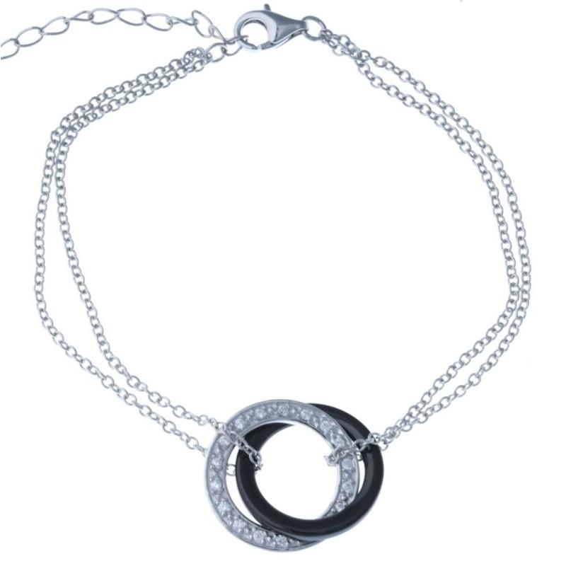 Bracelet céramique noire et argent pour femme - Galicia - Lyn&Or Bijoux